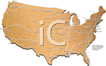 Royalty Free Clipart Image of a United States Map