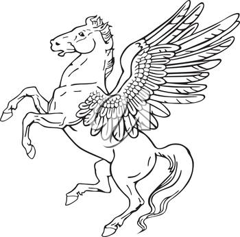 Vectorial pictogram of most heraldic monster - pegasus, executed in style of gravure on wood. No dlends, gradients and strokes.