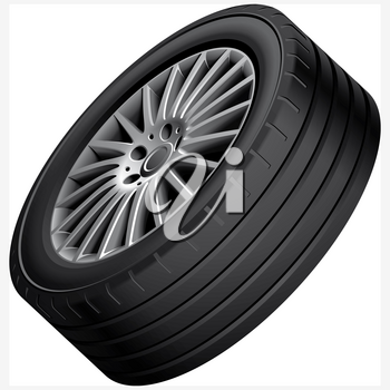 High quality vector illustration of automobiles alloy wheel, isolated on white background. File contains gradients, blends and transparency. No strokes. Easily edit: file is divided into logical groups.