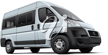 High quality vector image of European minibus, isolated on white background. File contains gradients, blends and transparency. No strokes. Easily edit: file is divided into logical layers and groups.