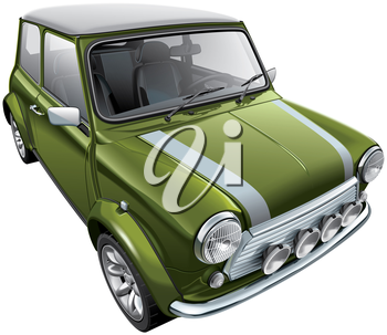 High quality vector illustration of iconic British city car, isolated on white background. File contains gradients, blends and transparency. No strokes. Easily edit: file is divided into logical layers and groups.