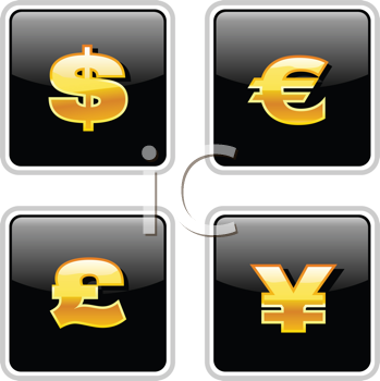 Royalty Free Clipart Image of  Currency Icons