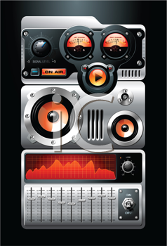 Royalty Free Clipart Image of an Analog MP3 Stereo Music Media Player