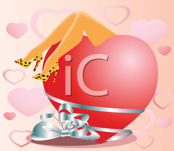 Royalty Free Clipart Image of a Valentine's Heart With a Woman's Legs