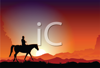 Royalty Free Clipart Image of a Cowboy Riding a Horse in the Dusk