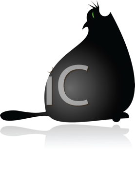 Royalty Free Clipart Image of a Fat Black Cat