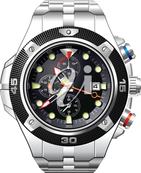 Royalty Free Clipart Image of a Man's Analog Dress Watch