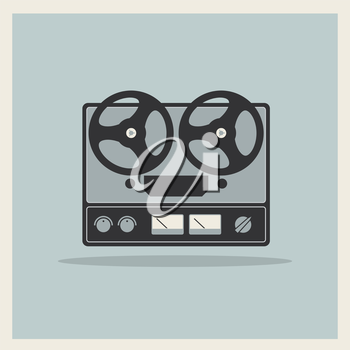 Royalty Free Clipart Image of a Retro Open Reel Tape Machine
