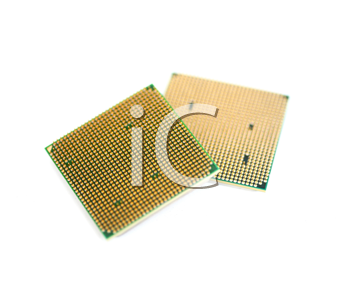 back of the micro processor  isolated on the white background