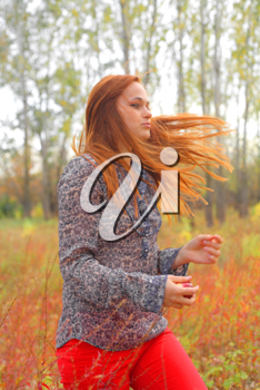 Beautiful young redhead in a autumn meadow wind blowing