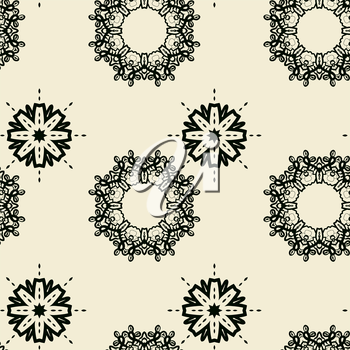 Seamless Tile Print with stylized oriental flowers of different size