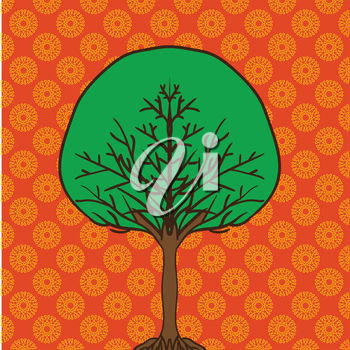 flat cartoon style tree icon on ornamental background can be used like design element.