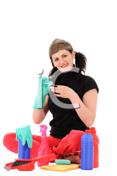 The woman makes manicure isolated on white background