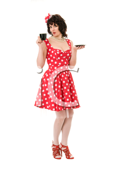woman pin-up in red dress isolated on white background