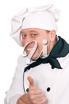 funny portrait of a cook on the white background