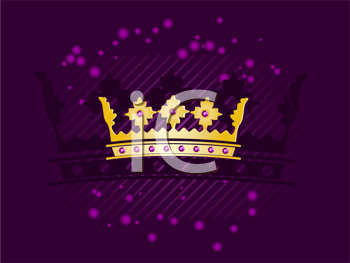Royalty Free Clipart Image of a Gold Crown on a Purple Background