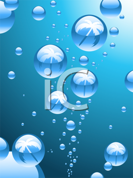 Royalty Free Clipart Image of an Abstract Background With Palm Tree Filled Bubbles
