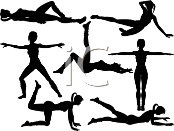 Royalty Free Clipart Image of Women Doing Aerobics