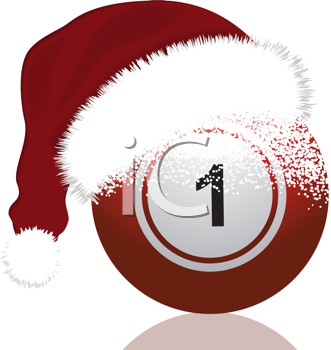 Royalty Free Clipart Image of a Red Bingo Ball With a Santa Hat