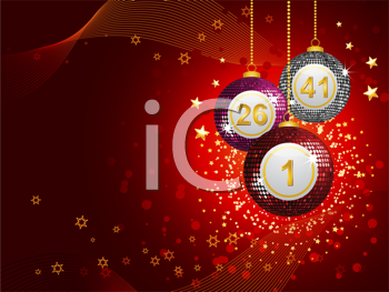Royalty Free Clipart Image of Bingo Ball Baubles on a Red Background
