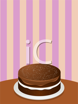 Royalty Free Clipart Image of a Chocolate Cake on a Serving Plate