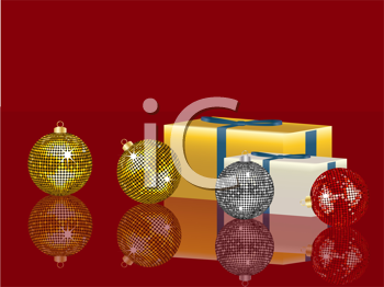 Royalty Free Clipart Image of Christmas Ornaments Beside a Present