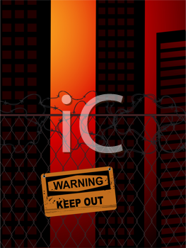 Royalty Free Clipart Image of a Fence and Warning Sign