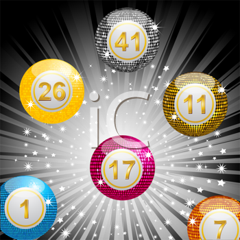 Royalty Free Clipart Image of Disco Lottery Balls