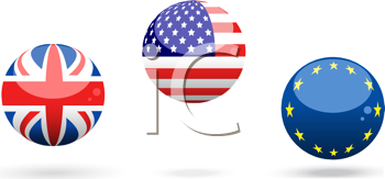 Royalty Free Clipart Image of Spheres With United Kingdom, United States of America and European Union Flags on Them