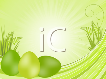 Royalty Free Clipart Image of a Spring Background With Easter Eggs on Grass