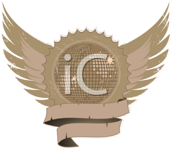Royalty Free Clipart Image of a Grunge Shield and Winged Disco Ball