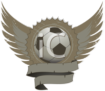 Royalty Free Clipart Image of a Distressed Football Shield With Wings and Banner