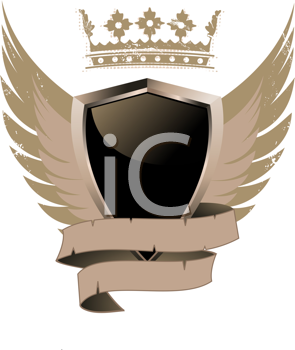 Royalty Free Clipart Image of a Black Shield With a Crown and Wings