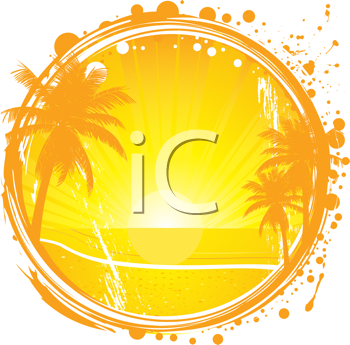Royalty Free Clipart Image of an Abstract Tropical Scene