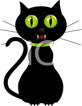 Royalty Free Clipart Image of a Black Cat With Fangs