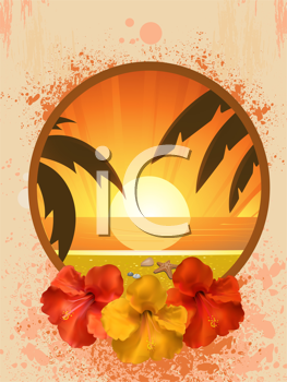Royalty Free Clipart Image of a Tropical Border