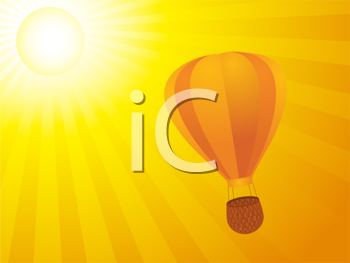 Royalty Free Clipart Image of a Hot Air Balloon Floating in the Sky