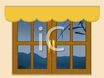 Royalty Free Clipart Image of a Window Showing a Mountain View