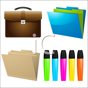 Royalty Free Clipart Image of Office Icons