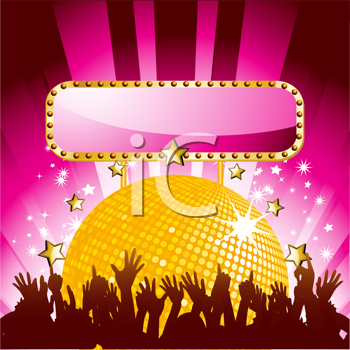 Royalty Free Clipart Image of a Crowd Under a Disco Ball