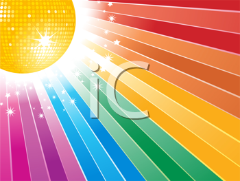 Royalty Free Clipart Image of a Disco Ball on a Rainbow Background
