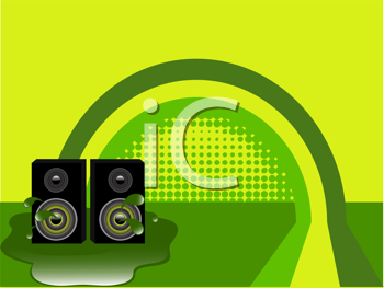 Royalty Free Clipart Image of an Abstract Illustration of Speakers