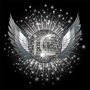 Royalty Free Clipart Image of a Sparkling Silver Disco Ball With Wings