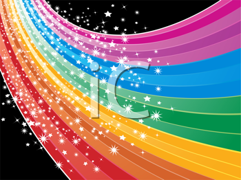 Royalty Free Clipart Image of a Sweeping Rainbow Wave and Sparkling Stars