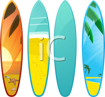 Royalty Free Clipart Image of a Set of Surfboards