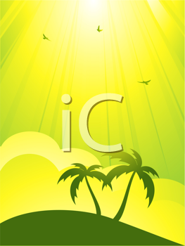 Royalty Free Clipart Image of an Abstract Tropical Background