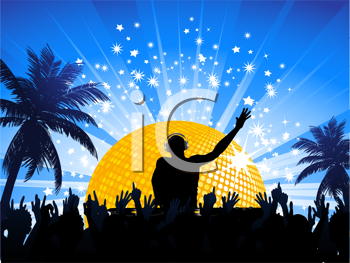 Royalty Free Clipart Image of a DJ and Crowd in a Tropical Scene