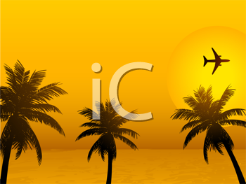 Royalty Free Clipart Image of a Tropical Sunset Scene