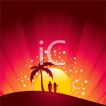 Royalty Free Clipart Image of a Couple in a Tropical Setting