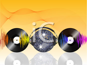 Royalty Free Clipart Image of a Sparkling Disco Ball Between Headphones and Discs